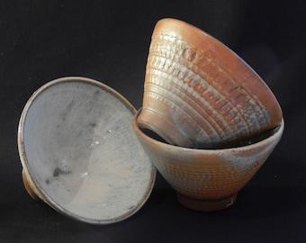Soda Fired & Blue Glazed Stoneware Ceramic Set of 3 Side Bowls