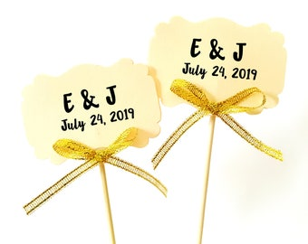 Set of 24Pcs -  Save the Date with Gold Glitter Bow Topper, Skewer, Stir stick, Food Picks, Weddings, Bridal/Baby Shower Party Picks