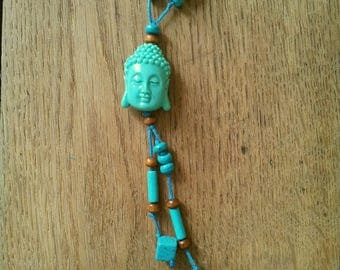 NECKLACE DOUBLE NECKLACE BUDDHA WOOD AND TURQUOISE