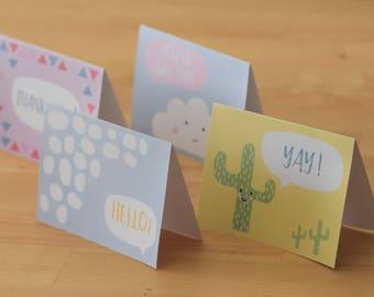 Pack of 4 Greeting Cards PDF DIY Printable Instant Download