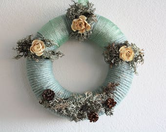Yarn wreath, with bleached cedar roses , pine cones, wild moss, Cottage decoration , Christmas decoration , Door , Kitchen decoration