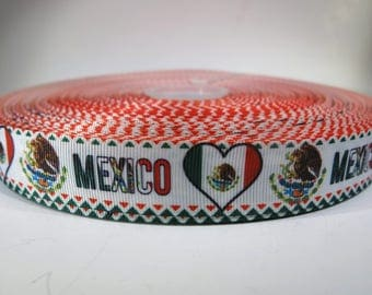 """5 yards of 7/8 inch """"Mexico"""" grosgrain ribbon"""