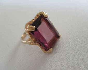 Vintage Sarah Coventry Amethyst Glass Stone Ring Adjustable Band Gold Tone Free Shipping