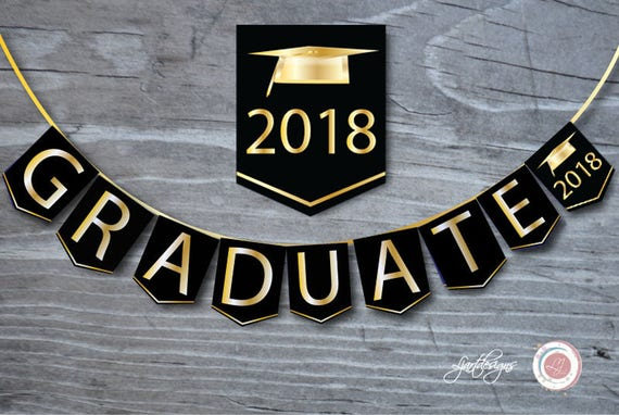black and gold graduation banner graduate bunting flags digital