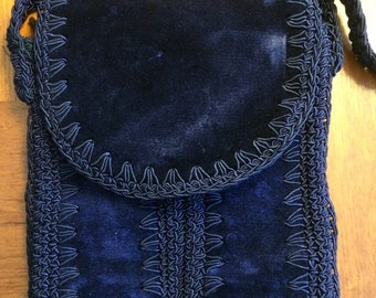 1970s corde blue velvet/crocheted  itailian purse/Made In Italy