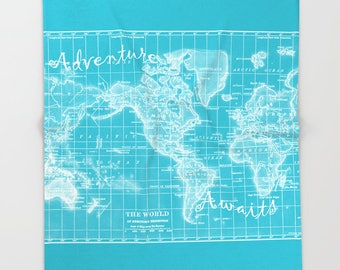 Turquoise World Map Fleece Blanket throw - Adventure Awaits Quote map cozy, sofa, couch, bed, travel decor, soft, winter, warm, wanderlust
