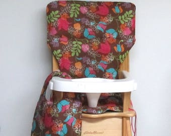 custom eddie bauer wooden high chair pad, fantasy floral with matching bib, replacement cover, kids feeding chair pad, baby furniture, decor