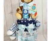 Rocket Diaper Cake| Boys Diaper Cake| Boys Baby Shower Centerpiece| Baby Shower Diaper Cake| Diaper Cake| Baby Boys Gift| Baby Gifts| Baby