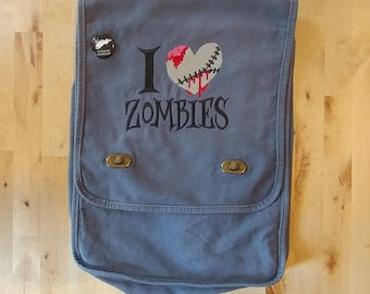 Zombies Bag, Walking Dead Messenger Bag, I Heart Zombies Embroidered Canvas Field Bag in Smoke Gray