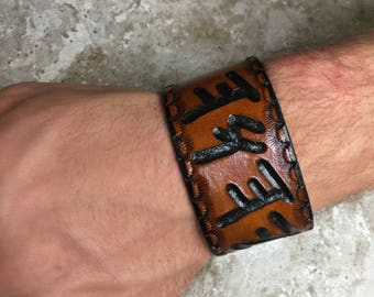 Paleo Hebrew Leather Cuff, YHWH Yod-Hey-Vav-Hey  - or can make custom Paleo Hebrew cuff, Hebrew jewelry