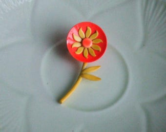 Vintage Metal and Enamel Brooch. Neon Orange and Yellow Daisy. Shabby Chic.