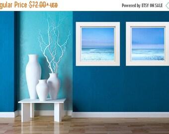 ON SALE Beach Print Set - Photography Set - 2 Print Set  - Two Photograph Set - Beach Photography - Blue Photo Set - Large Canvas Prints - O
