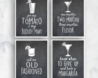 Bloody Mary, Martini, Old Fashioned, Margarita (Top Shelf Humor) Set of 4 Art Prints (Featured on Black and White) Alcohol Bar Art Print