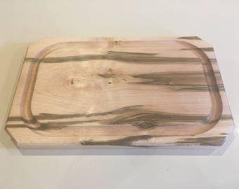 Hardwood Steak Plate, Ambrosia Maple, Wooden Plate with Juice Groove,  Wooden Cutting Board, Wormy Maple Steak Plate,