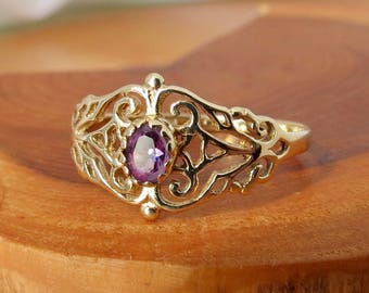 SOLD to Adonica layaway 2 vintage 9k yellow gold amethyst ring