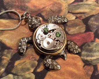 Steampunk Jewelry,  Steampunk Necklace, Turtle Jewelry, Clockworks, Gears, Watch Parts,Gothic, Art, Womens Necklace, Gift Idea