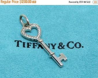 ON SALE TIFFANY And Co. Mini Diamond Heart Pendant 18k White Gold/ Designer Estate Jewelry