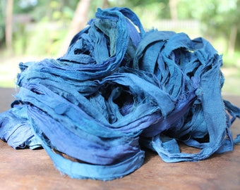 Recycled Sari silk ribbon - C Blue