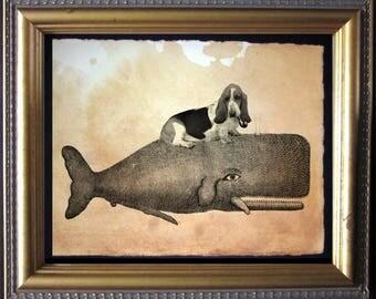 Basset Hound Dog Riding Whale - Vintage Collage Art Print on Tea Stained Paper - Vintage Art Print - Vintage Paper