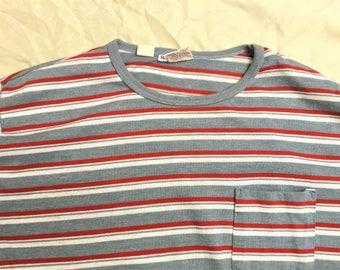 Vintage 80s Career Club Gray Red White Striped Pocket T Shirt XL