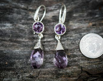 Amethyst Earrings - February birthstone earrings - Amethyst dangle 2 stone earrings - Amethyst earrings - Sterling Silver Amethyst Earrings