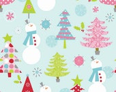 Sale Fabric, Christmas Fabric, Christmas Trees, Snowmen, Light Blue, Riley Blake, Reduced Price Cotton Fabric By The Yard, Quilting Supply