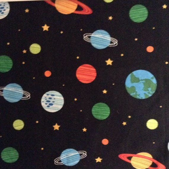 One 1 yard piece of fabric material orbit outer space for 3d space fabric