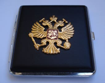 Vintage Russian Cigarette Case with an autocracy symbol of St. Petersburg/  USSR Cigarette Case/Double Sided Cigarette Case,Unused