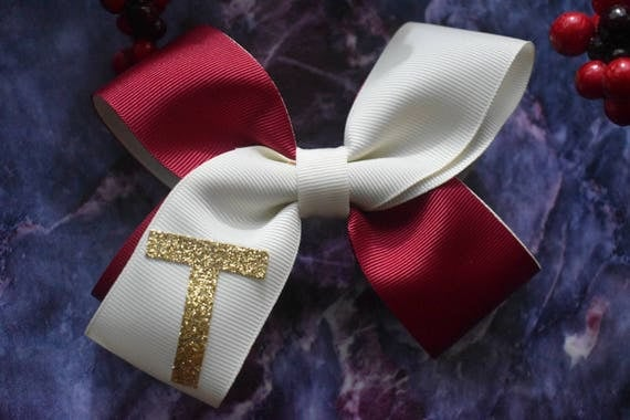 Festive Ivory and Red Initial Bow - Baby / Toddler / Girls / Kids Headband / Hairband / Hair bow / Barrette / Hairclip