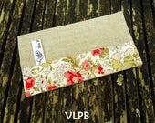 Porte chéquier lin coton FLEURI collection accessoires de sac