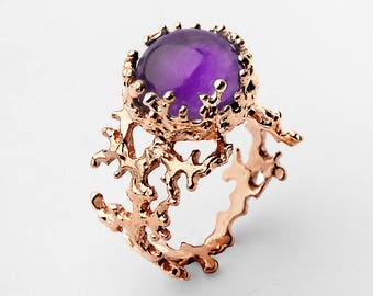 CORAL Rose Gold Amethyst Ring, Natural Amethyst Ring, Rose Gold Ring Amethyst, Purple Amethyst Engagement Ring