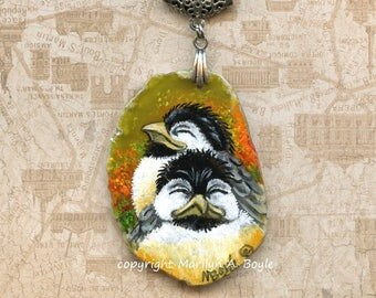 CHICKADEE HAND PAINTED Pendant; wearable art, large amber agate, large ornate silver bail and adjustable black cord,