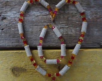 Fashionable Jewelry Set, Sackcloth, Fabric Necklace and Bangle, Bracelet, Handmade