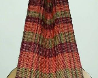 Wool and silk hand spun, hand woven,  scarf