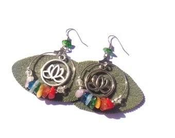 The Lotus and the 7 chakras: Earrings 5.5 cm long x 3.3 cm in width