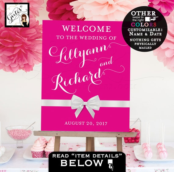Welcome sign wedding, Welcome to our wedding sign, pink and white, table backdrops, centerpiece poster sign, PRINTABLE Customizable colors
