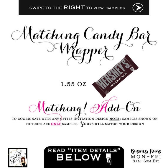 Candy Bar Wrappers Labels (1.55 Oz Hershey Bar) Add-on - To coordinate with any Gvites invitation design. Turnaround 3 Business Days