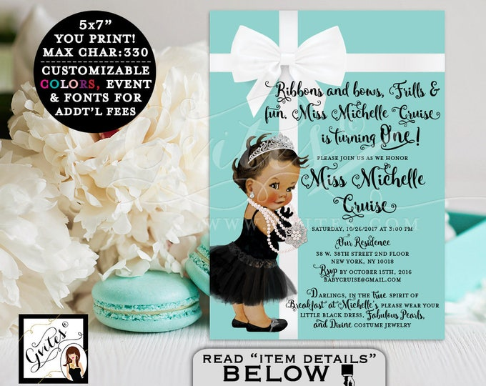 Baby & Co. Breakfast First BIRTHDAY Invitation blue themed, baby girl, african american elegant PRINTABLE, 5x7, Customizable.