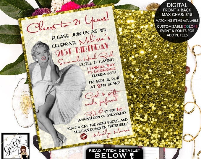 21st Marilyn Monroe invitations, birthday party, old hollywood style, glitz and glam, red and gold, printable customizable, double sided 5x7
