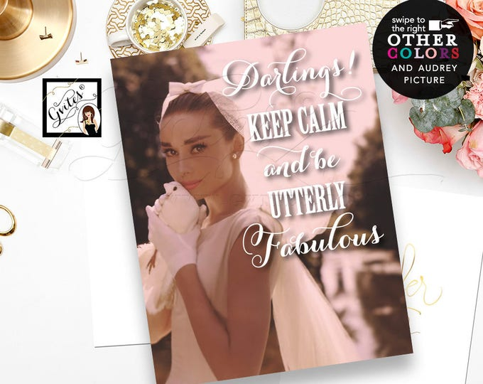 Keep Calm Audrey Hepburn Poster Sign, bridal shower decorations, welcome, Audrey Hepburn wall art, customizable text, picture & colors.