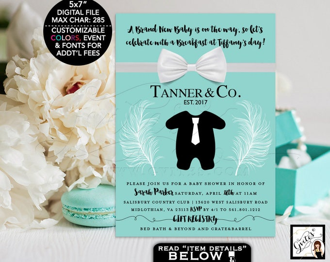 Baby and co baby shower invitation, printables baby and co BOY tux little bow tie, black tuxedo, breakfast at party 5x7 Digital File Only!