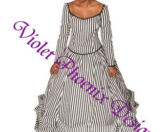 Black and White Striped Gothic Skirt and Bodice