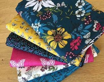 BOTANICA Fat Quarter Bundle K Makower Floral Fabric Vintage Blue Yellow Pink Berries Butterfly