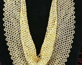 Gold Glass Beaded Scarf.