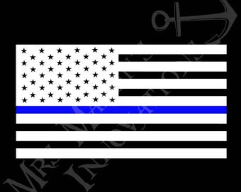 Blue Line American Flag Decal - Red Line American Flag Decal - American Flag Decal - Blue Line Decal - Back the Blue Decal - Red Line Decal