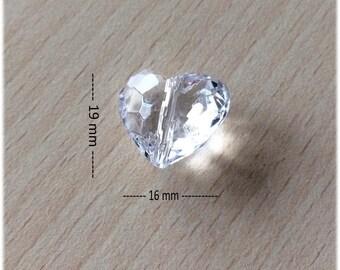Charm / small heart 19 x 16 mm acrylic