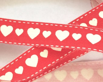 decorative Ribbon: white heart on red background