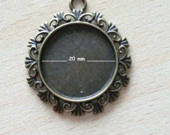 support cabochon pendant in bronze 20 mm