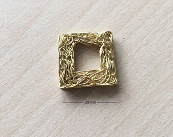 Gold square wire charm