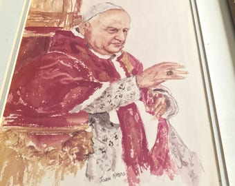 Rare Vintage Catholic Pope John XXIII Litho Signed Joan Nigro- Matted & Framed